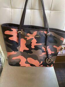 Michael Kors Jet Set Poppy Orange Camo Camouflage Tote Handbag Rare Small