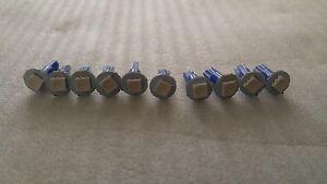 10x Blue SMD LED Dash Wedge Instrument Panel Light Bulb T5 73 74 Fits Pontiac