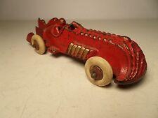"VINTAGE ORIGINAL CAST IRON RED HUBLEY BOAT TAiL RACE CAR 5-1/2"" L. RACER ARCADE"