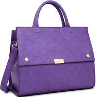 Dasein Womens Handbags Faux Leather Work Satchel Tote Bag Flat Bottom Purse