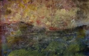 URSULA SPOTTISWOODE 1952-2015 Modernist Oil Painting LAKE GARDA SUNSET