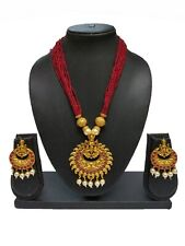 Indian Bollywood Ethnic Maroon Temple Fashion Traditional Necklace set For Women