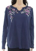 Style & Co. Womens Top Blue Size 2X Plus Waffle Knit Floral Embroidered $49 065