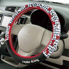 JDM Hello Kitty steering wheel cover black gingham Sanrio car accessory