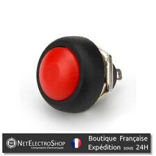 Bouton Poussoir Momentané - Etanche - 12mm - Rouge