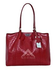New Ladies Stylish Cherry Croc Print Luxury Real Buffalo Leather Hand Bag 1080
