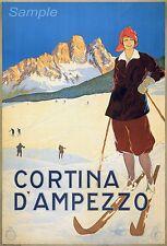 VINTAGE CORTINA D'AMPEZZO ITALY SKIING SKI TRAVEL A2 POSTER PRINT