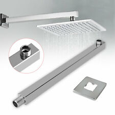 "16"" 40cm Square Ceiling Rain Shower Head Chrome Wall Mounted Extension Arm"