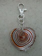 GLASS HEART ORANGE SWIRL KEY RING/PURSE CHARM  HANDCRAFTED  BY *KELLYS*KOUTURE*