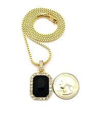 """New Iced Out Stone Pendant &2mm/24"""" Box Chain Hip Hop Necklace XZ122BX"""
