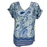 Per Seption Blue Multi Cold Shoulder Women Blouse. Size L. New With Tags
