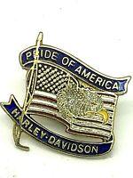 Harley Davidson Motorcycles Vintage Pride of America Flag Eagle Hat Vest Pin 1''