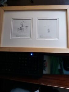 Winnie the Pooh Pencil Sketches  In a Pine Frame, ready for glazing and Hanging
