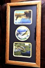 Bass Fish 3 in 1 Picture Wood Frame Under Glass Navy Matte Wall Decor
