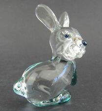 Clear Glass Rabbit Figurine Miniature,  4.5/5cm High Boxed Green Highlights