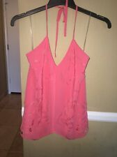 Madison Marcus Designer Pink Halter Top Blouse 100% Silk Small Nwt Retails $285