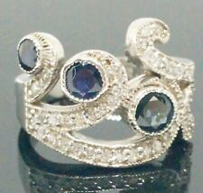 New Natural 1.65ctw Blue Sapphire Diamond Cocktail Ring 14k Solid Gold