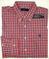 NEW $98 Polo Ralph Lauren Shirt Men Pink Blue Plaid 100% Cotton Long Sleeve NWT