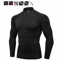 Mens Compression Tight Base Layer Skin Top Armour Long Sleeve Sports Gym T Shirt