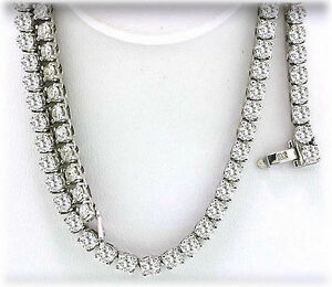 27.10 carat Round Diamond Tennis 14k White Gold Necklace F-G color SI1 clarity