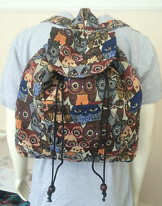 Owl Hippie Boho Gypsy Backpack Traditional Ethnic Rucksack Shoulder School Bag