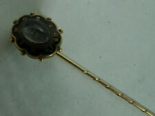 Victorian 15ct Gold Enamelled Mourning Stick Pin 2.7g 6.6cm A696717