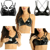 Women Wetlook Patent Leather Bralette Wire-free Unlined Bustier Bra Top Lingerie