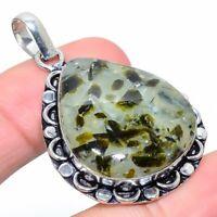 """Prehnite Gemstone Handmade Ethnic Gift Jewelry Pendant 1.89"""" JH"""