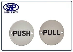 PUSH / PULL Door Sign, Round Signs in Satin Stainless Steel - 76MM PUSH or PULL