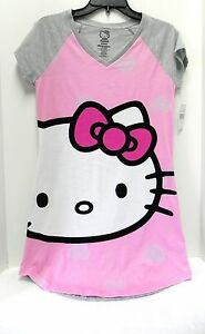 "NWT ""Hello Kitty"" Nightshirt, Lightweight Jersey Knit 100% Cotton, V- Neck S"