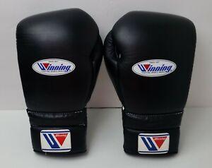 Winning Boxing Gloves MS-500 Lace Up Design - Lace N' Loop 14 oz Black Japan