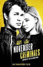 """November Criminals movie poster  - 11"""" x 17"""" -  Ansel Elgort, Chloe Grace Moretz"""
