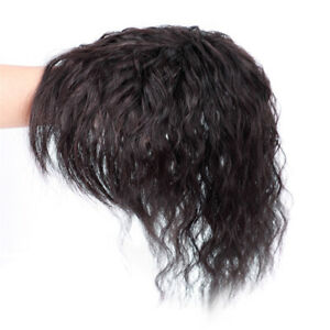 25cm kinky Curly Virgin Human Hair Topper Clip in Hair Top Piece Bangs Extension