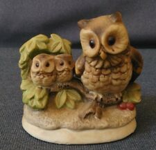 Vintage Homco Owl with Two Babies on a Branch Figurine # 1298