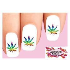 Waterslide Nail Decals Art Set of 20 - Rainbow Cannabis Pot Marijuana Leaf #1