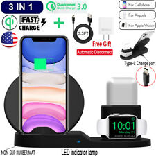 3 in 1 Qi Wireless Fast Charge Dock Station Holder Fr Apple Watch AirPods iPhone