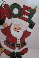 Noel Santa Claus Wall Decoration Christmas Holiday Handpaited Wood Plaque