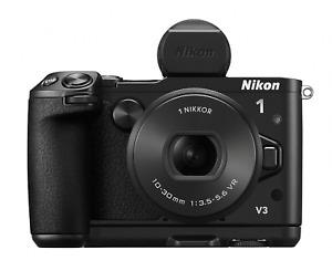 [EXC+++++] Nikon 1 V3 Premium Body w/ VR 10-30mm Lens & Finder & Grip   (NN056)