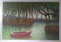 Landscape Painting Oil on Canvas 36x24 by Eusebio Vidal, 2004, Signed