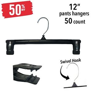 """Black Clothes Hangers with GRIP CLIPS-12"""" pants-Lot of 50*SALE*50% off(IT#157)"""