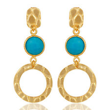Natural Turquoise 18K Gold Plated 925 Sterling Silver Dangle Earrings Jewelry