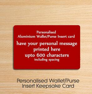Personalised Metal Aluminium Wallet Insert Card - Ideal Keepsake Gift Red