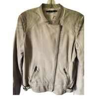 Yest Womens Moto Jacket Taupe Asymmetric Zip Pockets Faux Leather Plus 12/14