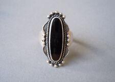 Großer 925 Sterlingsilber Ring Verzierung mit schwarzem Stein 6,5 g/RG 59