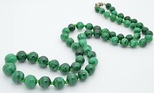 """Malachite Graduated Bead Vintage Necklace 27"""" Long Glass Spacers"""