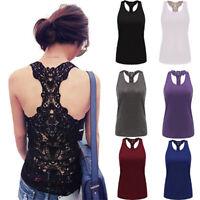 Womens Summer Lace Vest Top Sleeveless Shirt Blouse Casual Tank Tops T-Shirt