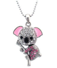 3D Koala Animal Heart Charm Pendant Necklace Pink Crystal Girl Women Jewelry