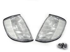 DEPO 92-99 Mercedes W140 S Class Euro Clear Corner Light Pair +Chrome Amber Bulb