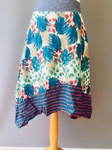 Fat face Skirt 12 Cotton Summer Boho Handkerchief Hem Feather Stripe Fatface L9
