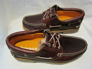 """MENS NEW """"TIMBERLAND CLASSIC MID BROWN FULL GRAIN LEATHER BOAT SHOES """" SIZE UK 8"""